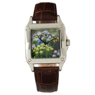 Two Japanese Geisha at a Flower Show Yokohama Wristwatch