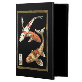 Two Japanese Koi Goldfish on Black Background iPad Air Cover