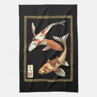 Two Japanese Koi Goldfish on Black Background Kitchen Towel