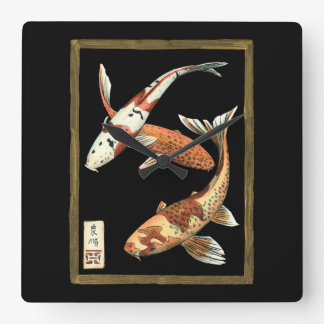 Two Japanese Koi Goldfish on Black Background Square Wall Clock