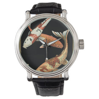Two Japanese Koi Goldfish on Black Background Watch
