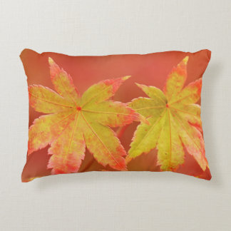 Two Japanese Maple Leaves Decorative Pillow