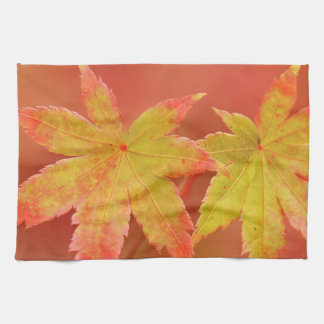 Two Japanese Maple Leaves Kitchen Towel