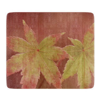 Two Japanese Maple Leaves - Vintage Style Cutting Board