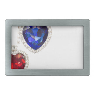 Two jewelry hearts blue and red hanging together belt buckles