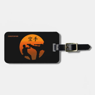 Two Karate Fighters With Rising Sun Luggage Tag