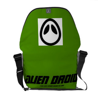 two kats alien droid green messenger bag