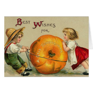 Two Kids and A Pumpkin Card