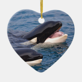 Two killer whales ceramic ornament