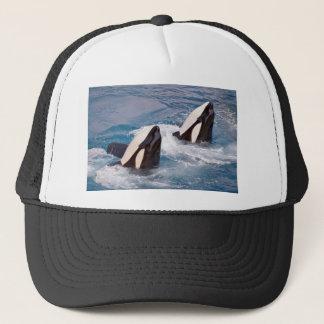 Two killer whales trucker hat