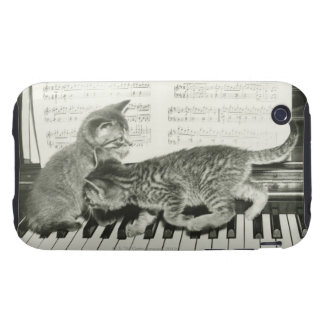 Two kitten playing on piano keyboard, (B&W) iPhone 3 Tough Cover