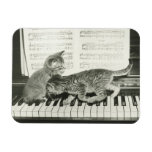 Two kitten playing on piano keyboard, (B&W) Rectangular Photo Magnet