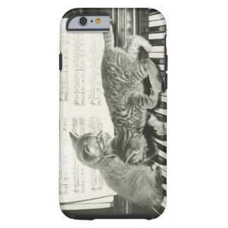 Two kitten playing on piano keyboard, (B&W) Tough iPhone 6 Case