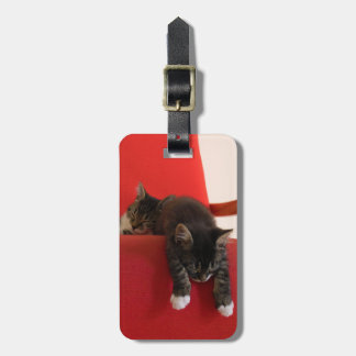 Two Kittens Hanging off a Red Chair Cushion Luggage Tag