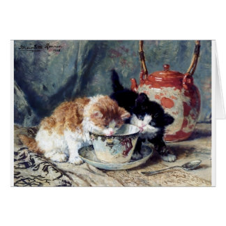 Two kittens having tea party greeting card