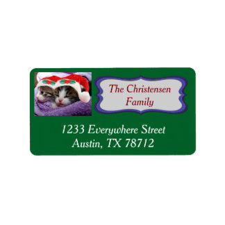 Two Kittens in Santa Hats Merry Christmas  Labels