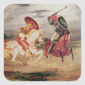 Two Knights Fighting in a Landscape, c.1824 Square Sticker
