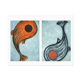 two koi canvas print