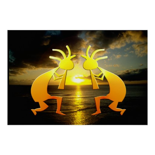 Two Kokopellis at Sunset Poster