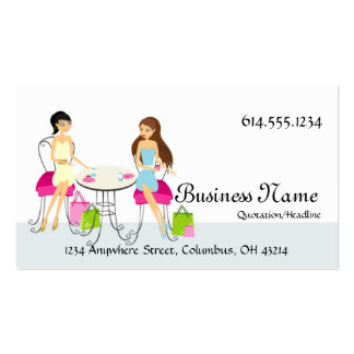 Two Ladies at Cafe Design 2 Business Cards