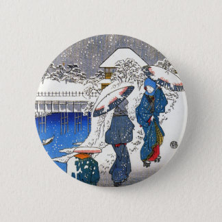 Two ladies conversing in the snow, Ando Hiroshige 2 Inch Round Button