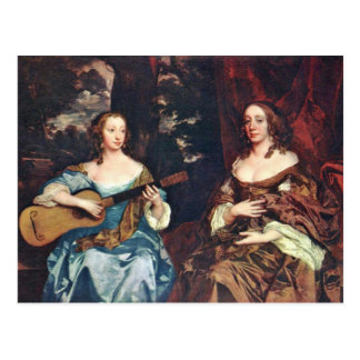 Two Ladies Of The Family Lake By Lely Sir Peter Postcard