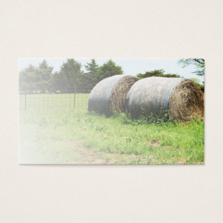 two large round hay bales business card