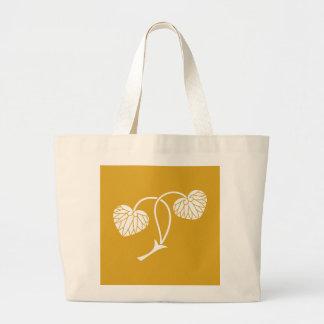 Two-leaf hollyhock large tote bag