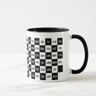 Two letter words black and white mug