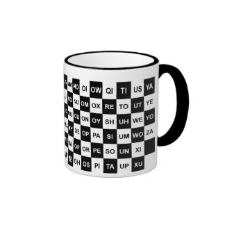 Two letter words black and white ringer coffee mug