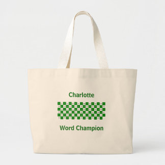Two Letter Words  Green and white US version Large Tote Bag