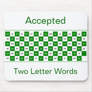 Two letter words mousepad in green and white