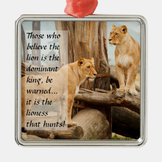 Two Lionesses Metal Ornament