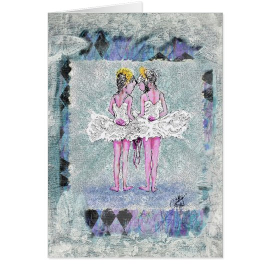 Two Little Ballerinas Holding Shoes Card