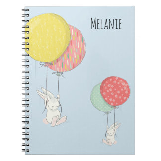 Two Little Bunnies Floating With Balloons Notebook