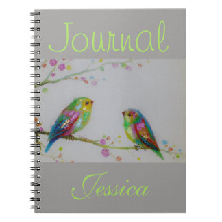 Two Little Colorful Birds Painted Gray Journal