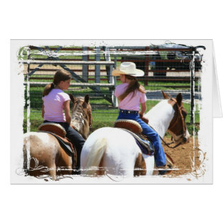 Two Little Cowgirls Greeting Card