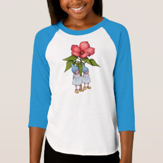 Two Little Gnome Girls with Big Pink Flowers T-Shirt