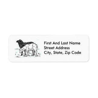 Two Little Lambs Sketch Return Address Label