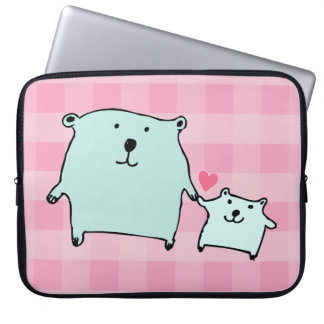 Two Little Love Bears Pink Gingham Laptop Sleeve