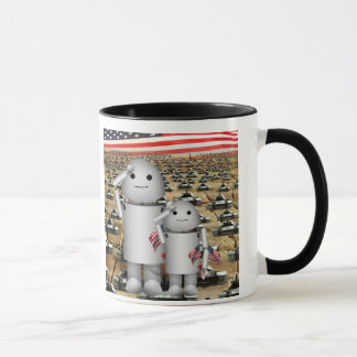Two Little Patriotic Robots with Lots of Tanks Mug
