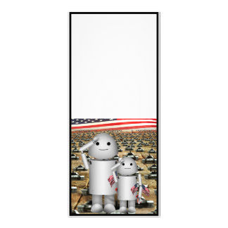 Two Little Patriotic Robots with Lots of Tanks Custom Rack Cards