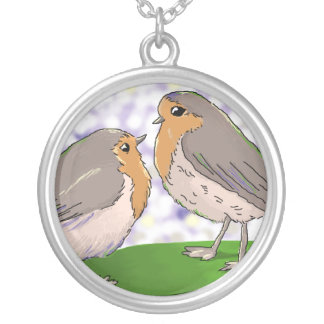 Two Little Robin Read Breast necklace