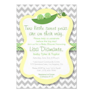 Two Little Sweet Peas Twins Baby Shower Invitation