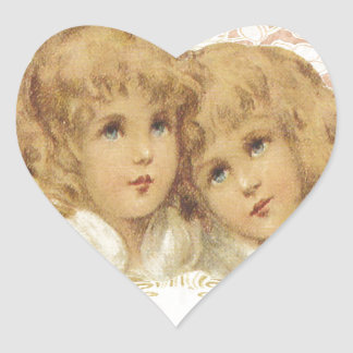Two Little Vintage Angels Heart Sticker