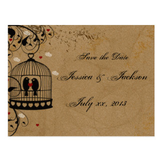 Two Love Birds Save the Date Postcard
