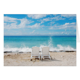 Two Love Chairs at Seashore Happy Valentine's Day Note Card
