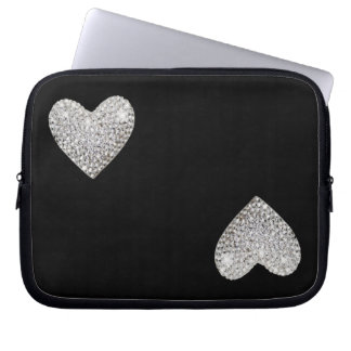 Two love hearts laptop computer sleeve