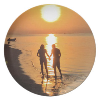 Two lovers at sunrise plate