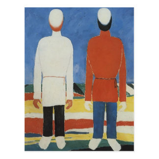 Two Male Figures by Kazimir Malevich Postcard